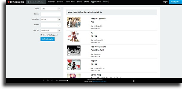 ReverbNation best websites to download music