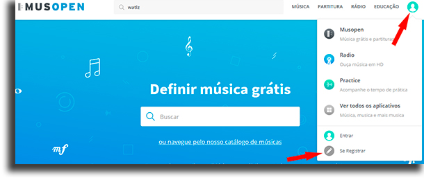 cadastrar como baixar música grátis no Musopen.org