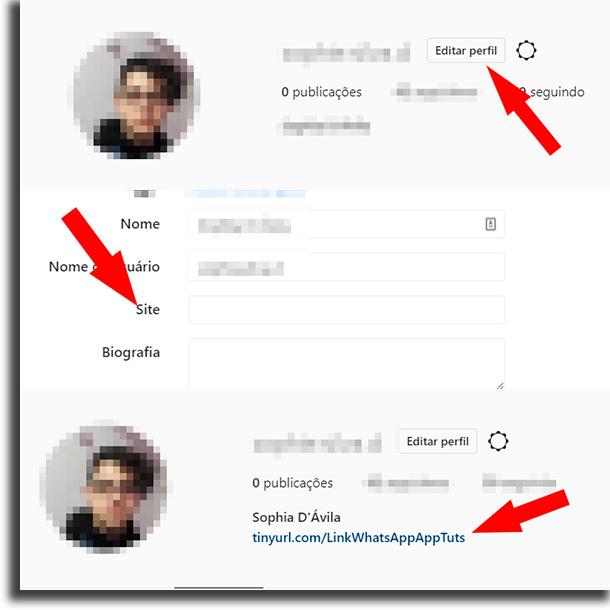 Navegador colocar o link do WhatsApp no Instagram