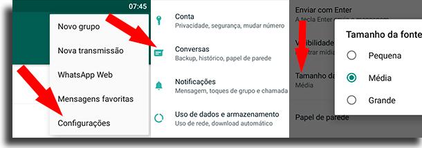 Tamanho da fonte trocar a fonte do WhatsApp