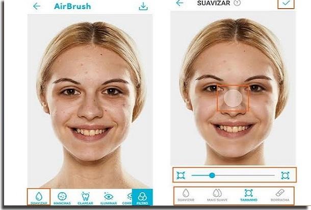 aplicativos para diminuir o nariz airbrush