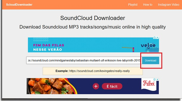 SoundCloud Downloader Download button download music from SoundCloud