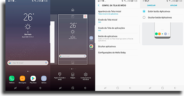 O ícone da gaveta de aplicações está faltando problemas do Galaxy S9