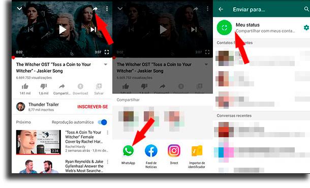 Como colocar vídeos do YouTube no status? como utilizar o status de whatsapp