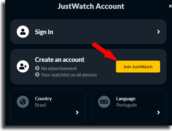 Criar conta 2 como usar o justwatch