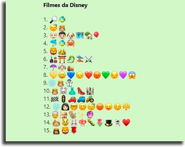 Desafio dos filmes da Disney