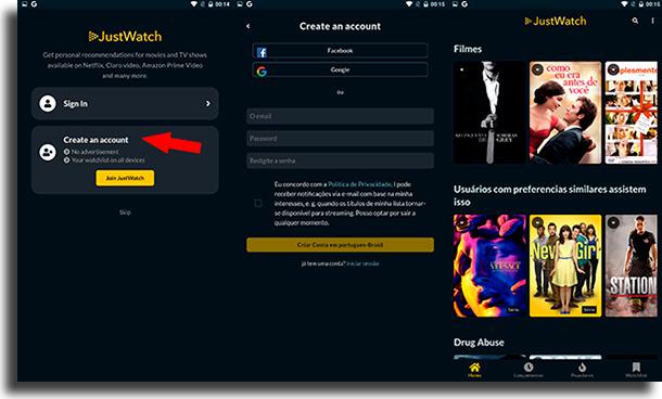 Criar conta JustWatch para Android