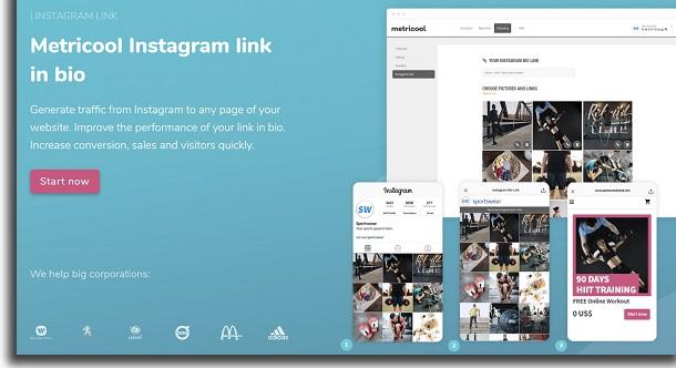 Metricool Instagram bio link tools