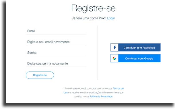 Registre-se criar um site grátis