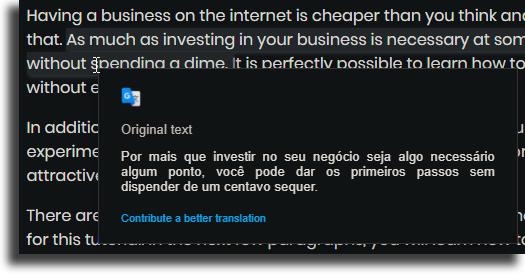 pop-up como usar a extensão do Google Tradutor no Chrome