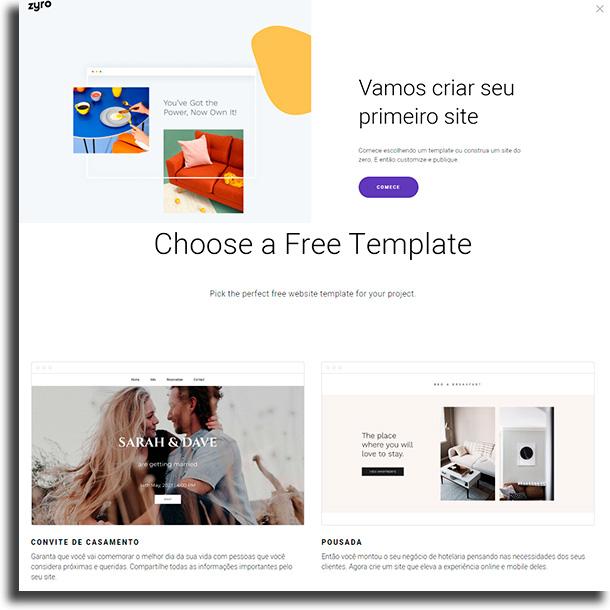 Escolha template Como criar um site de vendas