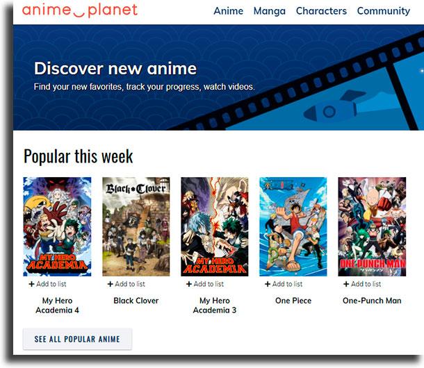 Anime-Planet melhores sites de animes online