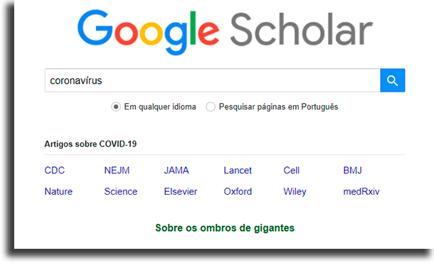 tela inicial Google Acadêmico