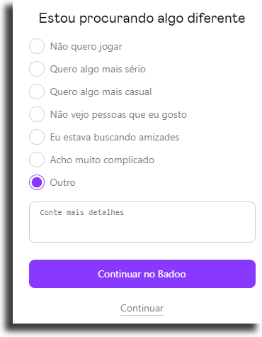justificativa excluir conta do Badoo
