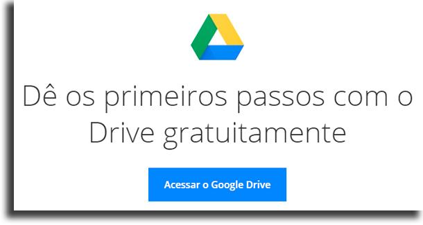 Primeiros passos aplicações do Google Drive