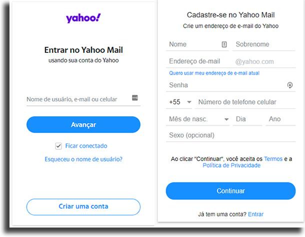Cadastro Yahoo Mail