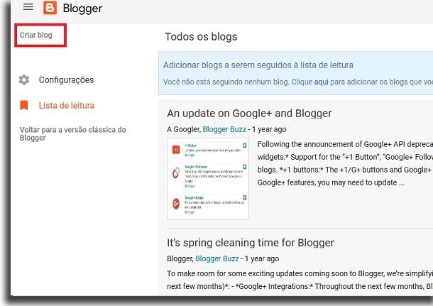 criar um blog grátis criação