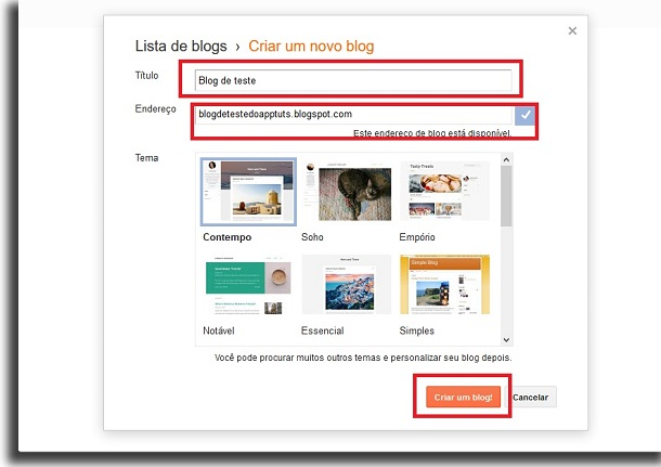 criar um blog grátis nome