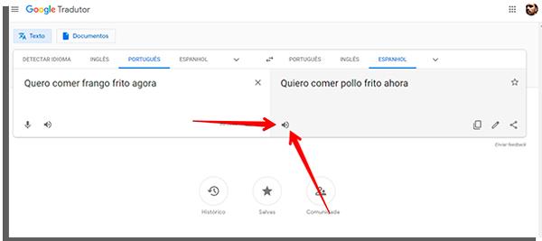 clique no icone para ouvir a frase traduzida