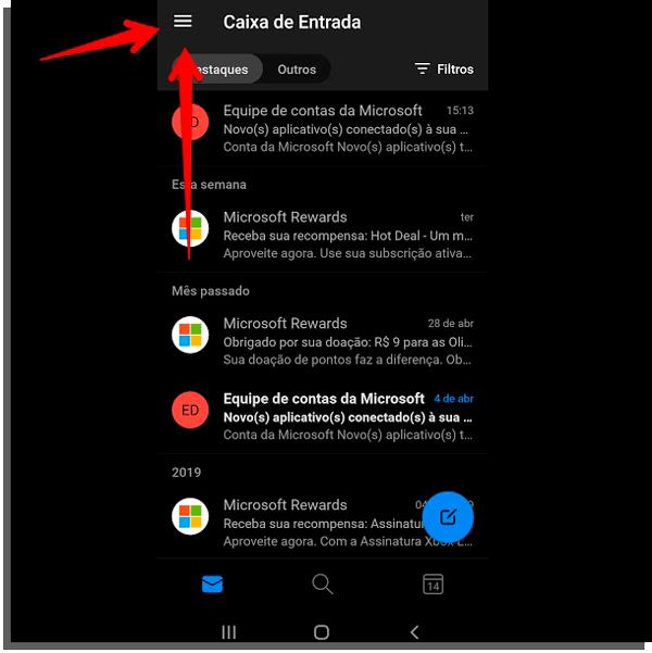 menu celular