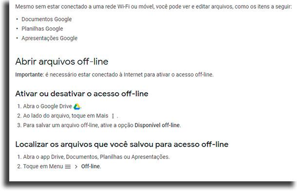 Como fazer isso no smartphone? Google Drive offline