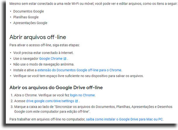 Como fazer isso no navegador? Google Drive offline