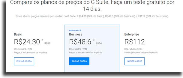 Preços Google Drive para empresas