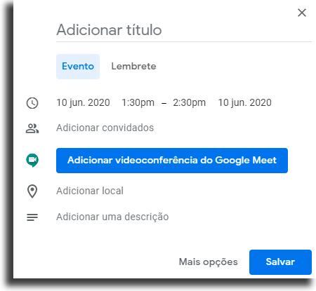 Criar evento Adicionar lembrete no Google Chrome