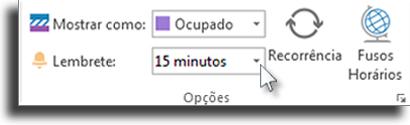 Tempo do lembrete Adicionar lembrete no Outlook