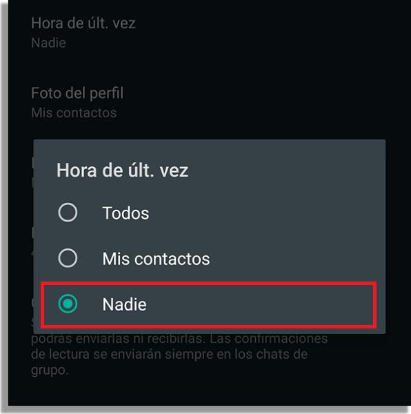 """quitar el """"en línea"""" de WhatsApp quitar última conexión"""