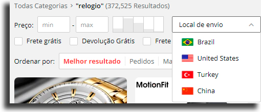 Local de Envio AliExpress Brasil
