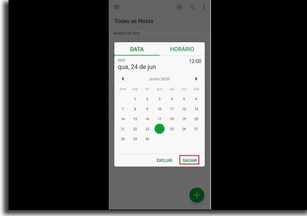 calendário do evernote para adicionar lembrete no smartphone