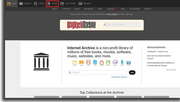 usando o archive.org