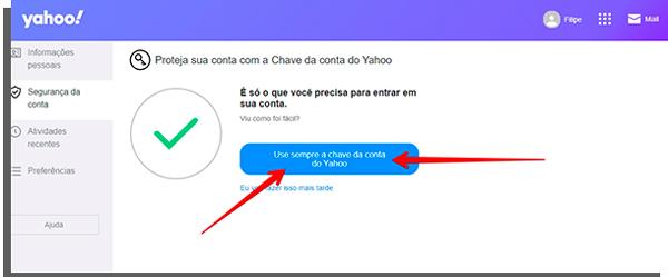 toque em use sempre para ativar a chave de conta para entrar no Yahoo Mail