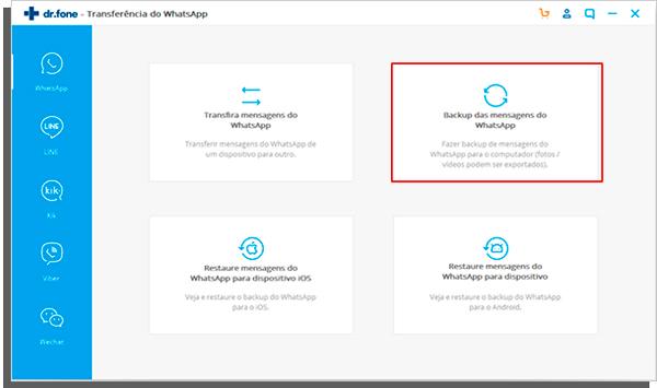 escolha a opção backup das mensagens whatsapp