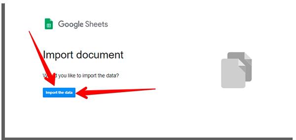 clique em import the data