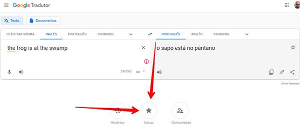clique em salvas para acessar traduções favoritas