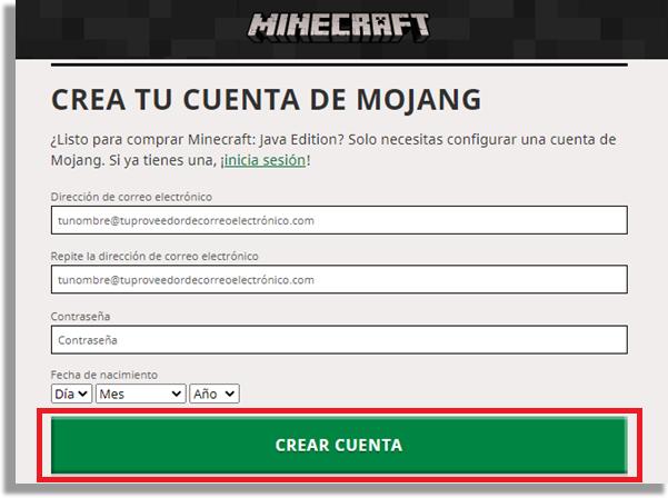 jugar Minecraft crear cuenta