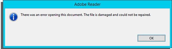 arquivo pdf com erro