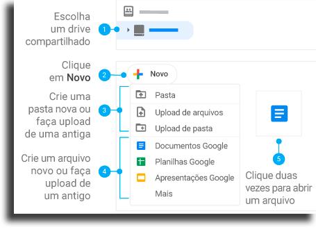 Adicionar arquivos trabalho em equipe com o Google Drive