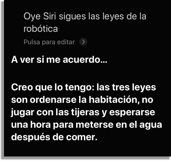 frases graciosas de Siri leyes de la robótica