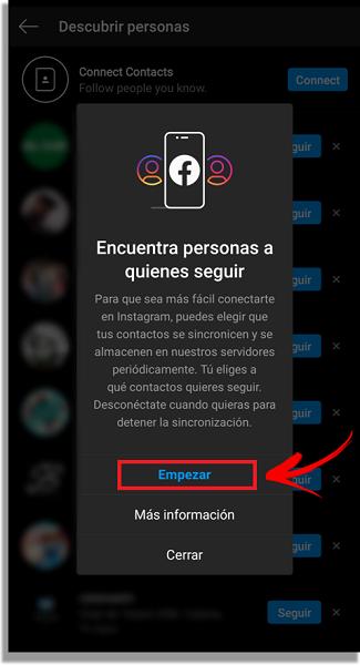autorizar usar contactos en instagram