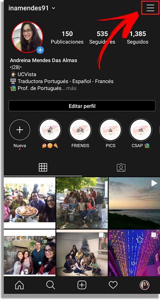 novedades de Instagram no aparecen menú