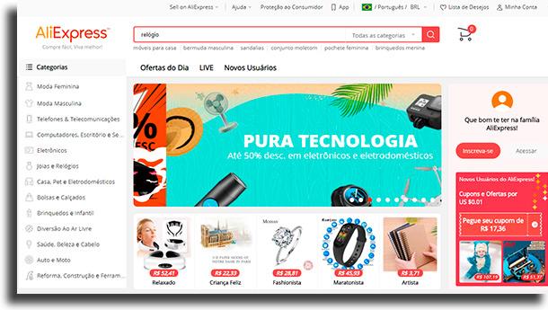 página inicial comprar os produtos brasileiros no AliExpress