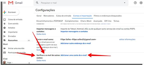 adicionar email com domínio próprio para receber