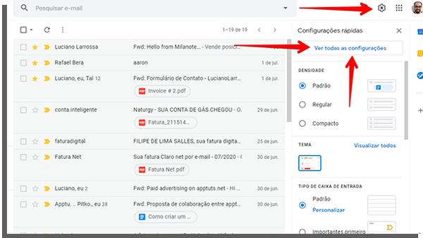 configurações do gmail para integrar com email de domínio próprio