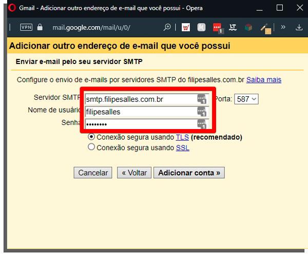 informações do email com domínio próprio