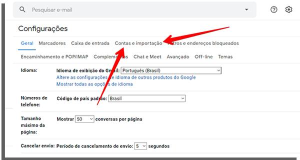 criar email importacao