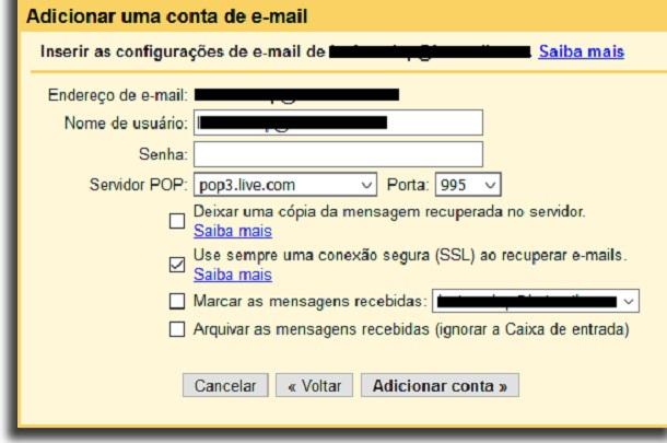 criar email geral servidor pop