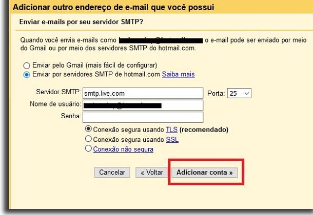 criar email geral servidores